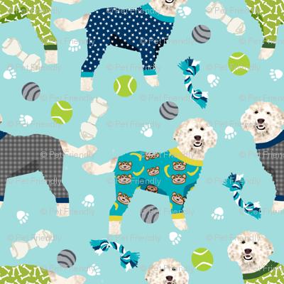 golden doodle in jammies fabric  - pjs, pajamas, pyjamas - blue (LARGE VERSION)