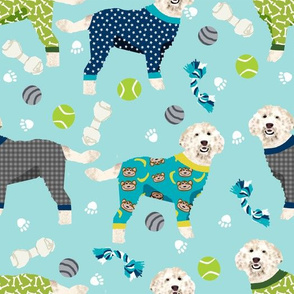 golden doodle in jammies fabric  - pjs, pajamas, pyjamas - blue (LARGE VERSION)