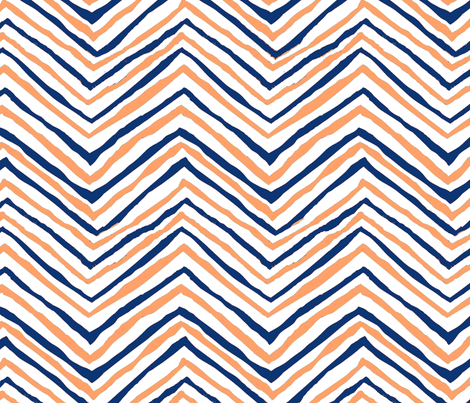 navy blue orange zig zag chevron tigers clemson football fabric by jenlats on Spoonflower - custom fabric