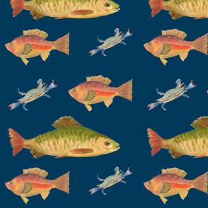 Heathers Fish Navy Blue