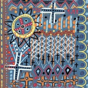 African sun design, large scale, blue orange yellow red brown