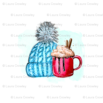"""knitting and hot chocolate 4""""x4"""""""