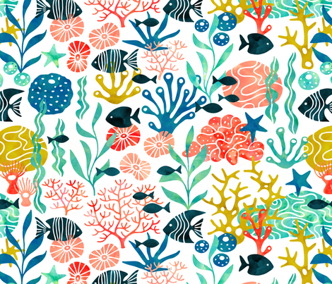Ocean plants and fish in watercolor (no pink) fabric by heleen_vd_thillart on Spoonflower - custom fabric
