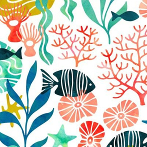 Ocean plants and fish in watercolor (no pink)