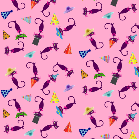 Party Cats on Pink fabric by betz on Spoonflower - custom fabric