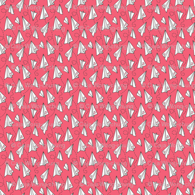 Paper Plane Love Hearts Valentine on Red  tiny small rotated