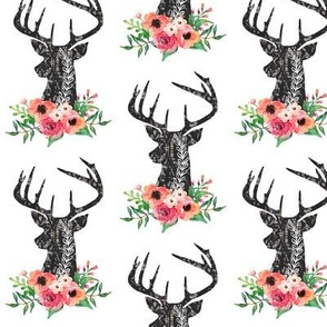 Grunge Black Deer Floral -  Coral, Peach, Pink Flowers Antler Baby Girl Nursery Bedding
