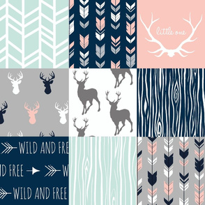 Patchwork Deer - Navy, Coral, and Mint