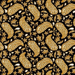 Black White and Faux Gold Paisley
