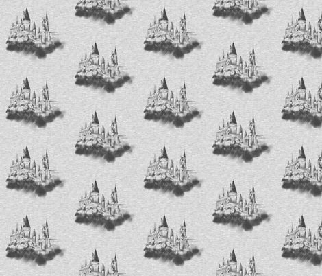 "4"" Wizard Castle in Textured Grey fabric by sugarpinedesign on Spoonflower - custom fabric"