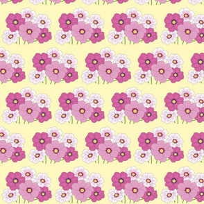 Mauve Flowers on yellow background