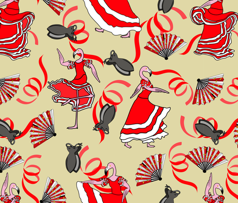flamenco flamingos fabric by b0rwear on Spoonflower - custom fabric