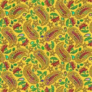 Rainbow Paisley on Golden Yellow