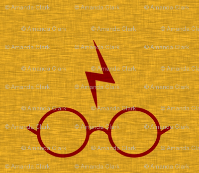 "4"" Glasses And Lightening Bolt - Red on Gold - Scar"