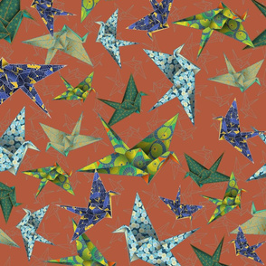 5 Washi Origami Cranes - Terra Cotta
