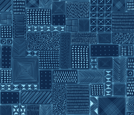 African Indigo Tribal Mud Cloth fabric by marketa_stengl on Spoonflower - custom fabric