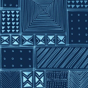 African Indigo Tribal Mud Cloth