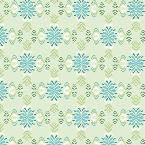 ikat tapestry flourish - green and aqua