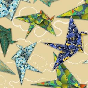 5 Washi Origami Cranes - Ivory