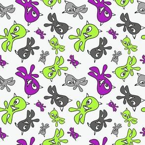 Monsters Purple & Green & Grey