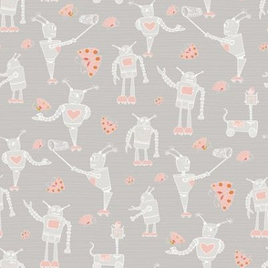 Robots and Butterflies_Mid Grey_Repeat tile