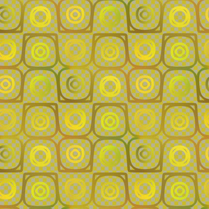 Golden Plasma Rings on Checkerboard Background