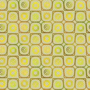 Yellow Plasma Rings on Checkerboard Background