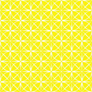 Yellow Starbursts on White Geometric Shapes