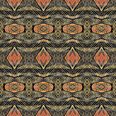 Tribal Etching in Orange and Olive