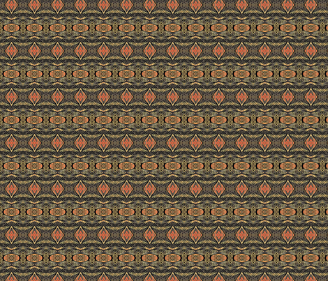 Tribal Etching in Orange and Olive fabric by vickywestover on Spoonflower - custom fabric