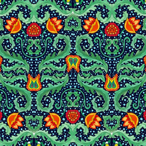 Red flowers green leafs pattern