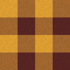 Jumbo Buffalo Plaid in Gold and Burgandy Maroon Red with Texture