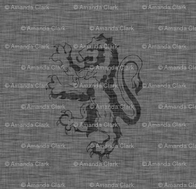 """1"""" Gryphons Dark Grey Linen Texture- Lions"""