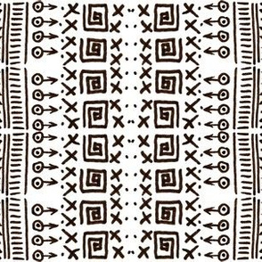 African Art Inspired Mud Cloth White-3