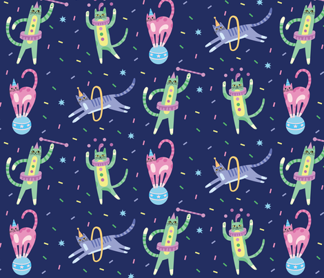 Circus Cats! fabric by pinkowlet on Spoonflower - custom fabric