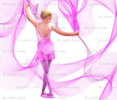 Dancer FQ pink quilt panel