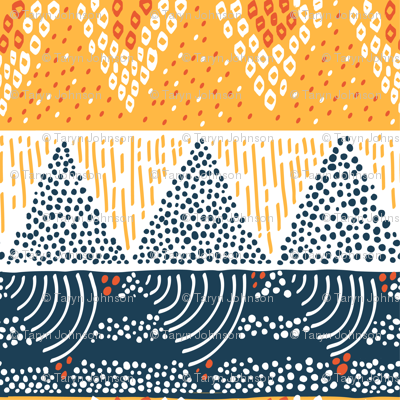 Mountain Sun by Sea Geometric Pattern