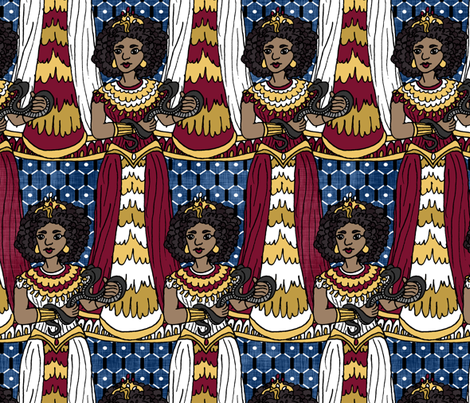 Cleopatra on Blue Linen fabric by pond_ripple on Spoonflower - custom fabric
