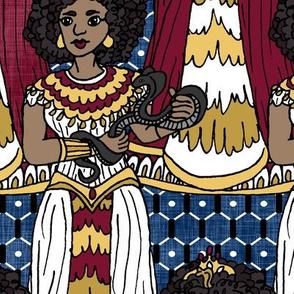 Cleopatra on Blue Linen