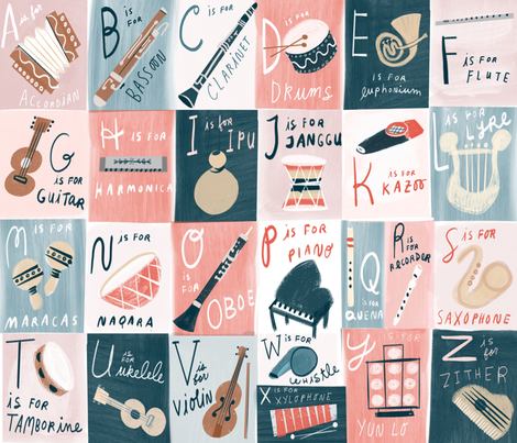 Musical ABC Cheater Quilt fabric by anda on Spoonflower - custom fabric