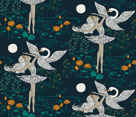 Swan Lake - Odette fabric by ceciliamok on Spoonflower - custom fabric