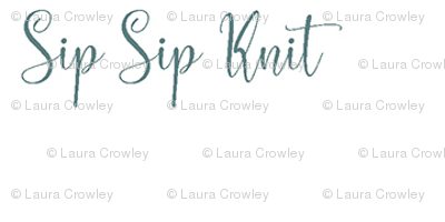 sip sip knit - tealgray on white