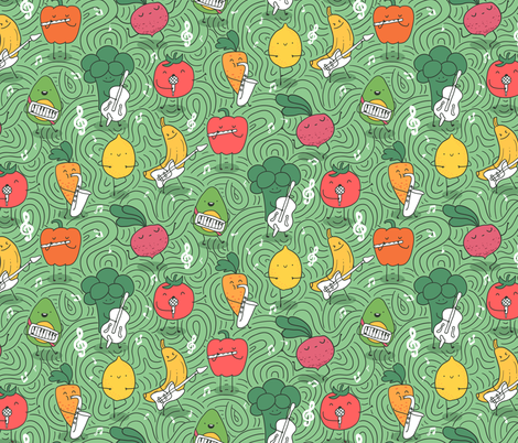 Artistic and healthy. Center stage food musicians. fabric by kostolom3000 on Spoonflower - custom fabric