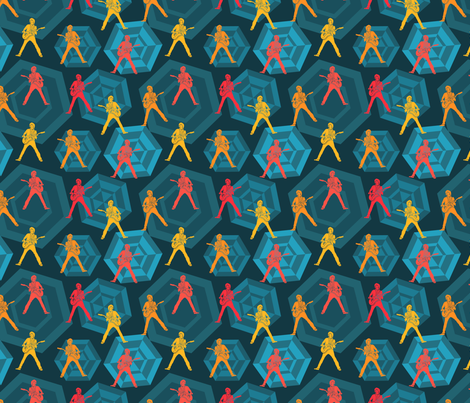 Stagetime - guitar player red orange yellow on a retro inspired blue background with hexagons. fabric by sandra_hutter_designs on Spoonflower - custom fabric