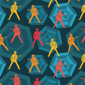 Stagetime - guitar player red orange yellow on a retro inspired blue background with hexagons.