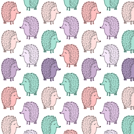 (small scale) hedgehogs - pink and purple fabric by littlearrowdesign on Spoonflower - custom fabric