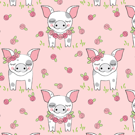 spotted pigs-with-roses-on-pink fabric by lilcubby on Spoonflower - custom fabric