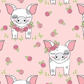 spotted pigs-with-roses-on-pink