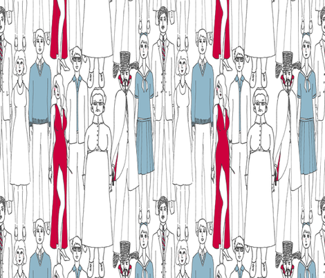 stock characters take a bow fabric by victorialasher on Spoonflower - custom fabric