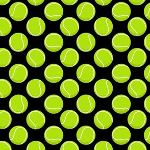(small scale) tennis balls on black